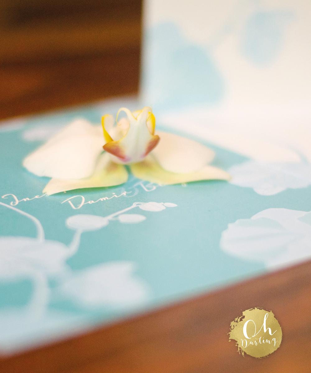 Klappkarte, quadratisch, türkis, weiss, Orchidee, Blumen, Floral