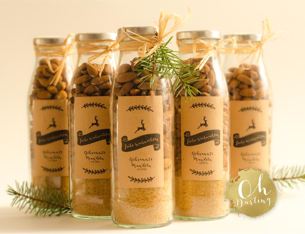 gebrannte Mandeln Rezept Etikett Weihnachten Adventszeit Geschenk Mitbringsel Glasflasche Kraftpapier